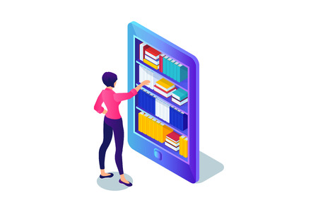 Isometric 3d concept of buying e-book. Woman chooses book in library of smartphone. Vector illustration.