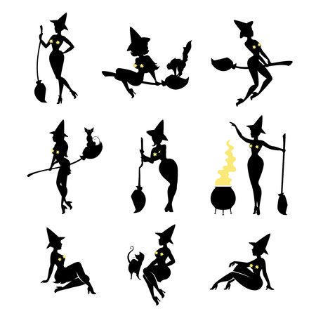 Set of black witch silhouettes on white background. Sorceress with cat, broomstick, potty with potion. Celebration of halloween. Vector illustration.