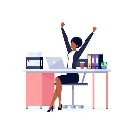 Excited African American woman with raised hands on workplace, celebrating win, happy woman in office clothes, skirt and heels, vector illustration in flat style on white background
