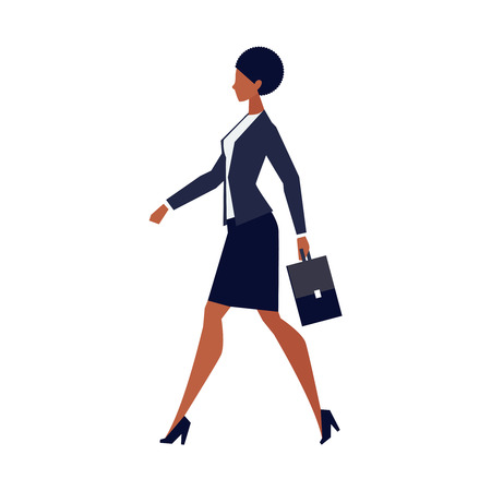 African American businesswoman with briefcase going to work, walking in profile, woman in office clothes, skirt and heels, vector illustration in flat style on white background