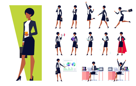 African American businesswoman in different situations set, successful confident woman in office clothes, skirt and heels, vector illustration in flat style on white background