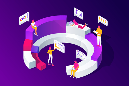 Isometric concept of people work with statistics, analysis, analyze diagrams, graphs, market research, e-commerce, using tablet, mobile devices, vector illustration