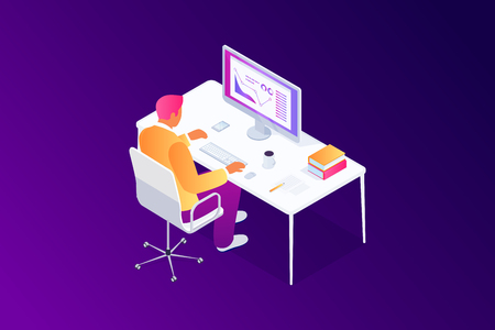 Isometric concept, manager, man using computer at workplace, accountant analyze project statistics, research, presentation with graphs and diagrams, 3d vector illustration Illustration
