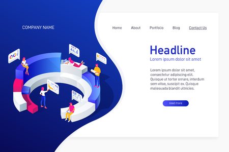 Concept of web site main page, landing page with isometric concept business statistics, people analyze diagrams, graphs, market research, e-commerce, 3d vector illustration Illustration