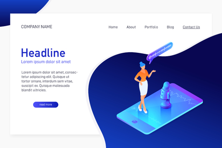 Landing page template with isometric concept of recording voice message, website main page, woman using microphone on phone, mobile device app, vector illustration Illustration
