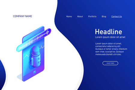 Landing page template with isometric concept of voice recording on phone, website main page, using microphone app, voice message, soundwave on smartphone screen, vector illustration
