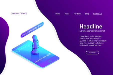 Landing page template with isometric concept of voice recording on phone, website main page, professional microphone stand on smartphone screen, soundwave, 3d vector illustration