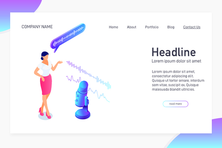 Landing page template, isometric concept of voice message recording on microphone, website main page, woman talking to microphone, radio program or announcement, interview, 3d vector illustration