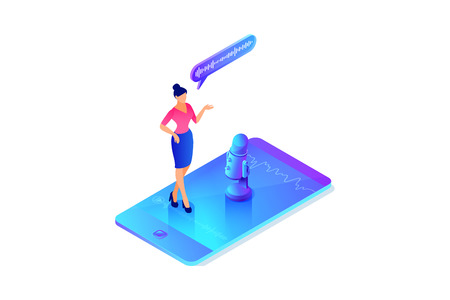 Isometric concept of voice message recording, woman talking, using phone, microphone, mobile device app, 3d vector illustration