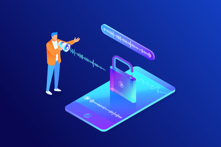 Isometric concept of voice recognition, man unlock phone, mobile device security, character with loudspeaker, opened padlock, 3d vector illustration Illustration