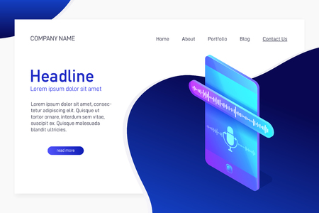 Concept of landing page with isometric phone, voice recording, website main page with 3d smartphone, dictaphone app interface on screen of mobile device, vector illustration