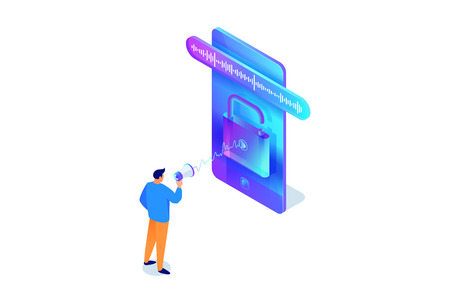 Man accesses, unlock phone by voice, security isometric concept, character with megaphone, loudspeaker talking to smartphone, using mobile device, vector illustration