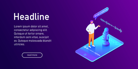 Isometric concept of voice message recording, man using microphone on phone, landing page design, talk to smartphone, online interview, communication, social network, vector illustration