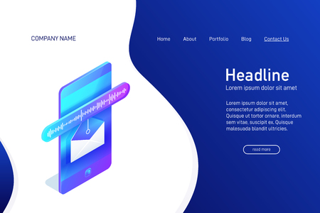Landing page template with isometric concept of voice message receiving, website main page, opened envelope with soundwave on phone screen, online communication, vector illustration Illustration
