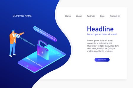 Landing page template with isometric concept of voice recognition, website main page, man unlock phone, mobile device security, character with loudspeaker, opened padlock, vector illustration