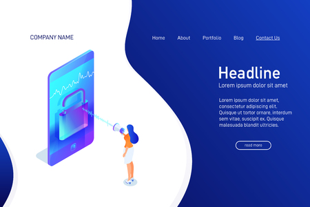 Landing page template with isometric concept unlock phone by voice, website main page, character with megaphone talking to smartphone, using mobile device, opened padlock, vector illustration