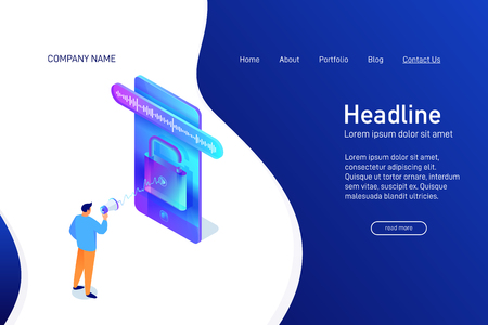Landing page template with isometric concept, man unlock phone by voice, website main page, character with megaphone talking to smartphone, using mobile device, opened padlock, vector illustration