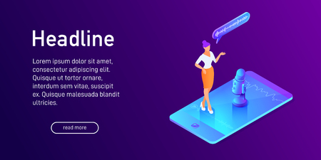 Isometric concept of voice message recording, landing page design, woman using microphone on phone, mobile device app, online interview, 3d vector illustration