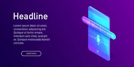 Isometric concept of sound recording, landing page design, website decor with 3d smartphone, dictaphone app interface on screen of mobile device, vector illustration