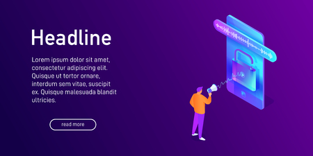 Isometric concept of phone security, voice unlock, landing page design, website decor, man, character with megaphone talking to smartphone, using mobile device, opened padlock, vector illustration Vettoriali