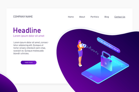 Landing page template with isometric concept of voice recognition, unlock phone, website main page, smartphone security, information safety, character with loudspeaker, vector illustration