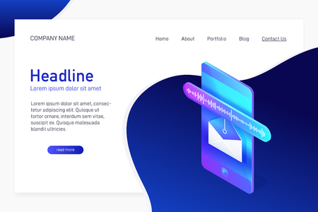 Landing page template with isometric concept of voice message receiving, website main page, opened envelope with soundwave on phone screen, online communication, vector illustration Vettoriali