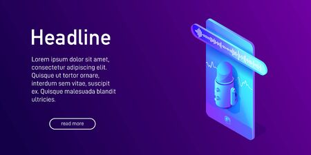 Isometric concept of voice recording on phone, landing page design, biometrics, voice recognition, using microphone app, voice message, soundwave on smartphone screen, 3d vector illustration Vettoriali