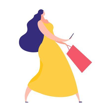 Elegant woman with dark long hair using phone, recording message or taking selfie, fashion girl wearing yellow dress carrying shopping bag, flat style vector illustration Illustration