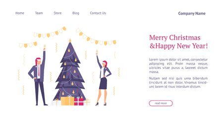 Landing page template with flat concept office christmas celebration, happy businessmen in santa hats, team celebrates new year, website homepage, corporate party, vector illustration Illustration
