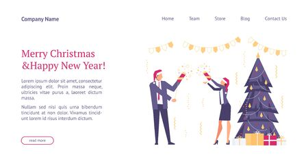 Landing page template with flat concept office christmas celebration, happy businessmen in santa hats, team celebrates new year, website homepage, corporate party, vector illustration Vettoriali