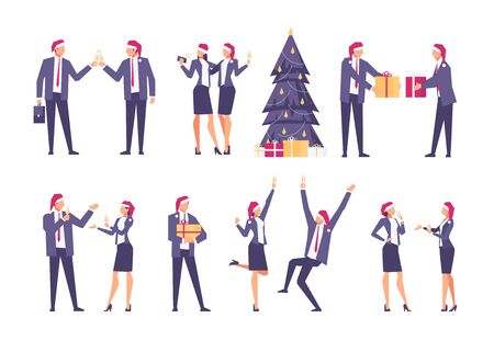 Set of christmas businessmen. Happy businessmen in santa hats celebrate winter holidays. Christmas tree, New Year's gifts, corporate party. Vector illustration. Vettoriali
