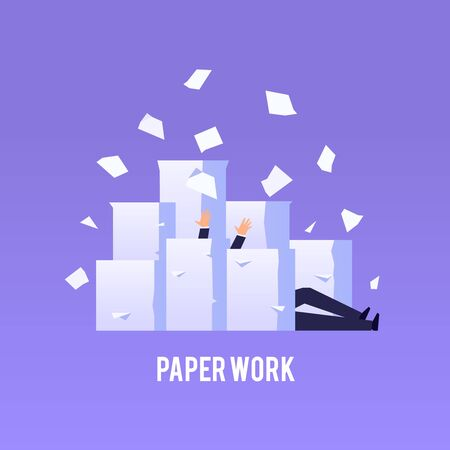 Businessman drowns under piles of papers. Hard paperwork concept in flat style. Vector illustration. Vettoriali