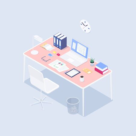 Isometric concept workplace. 3d computer, claim form, coffee, smartphone, lamp, plant on a desk. Vector illustration. Illustration