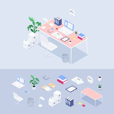 Isometric office concept. Workplace. Set of 3d icons: desk, chair, laptop, lapma, coffee, books, plant, boxes, documents, folders. Vector illustration.