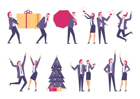 Set of christmas businessmen. Happy businessmen in santa hats celebrate winter holidays. Christmas tree, New Year's gifts, corporate party. Vector illustration. Illustration