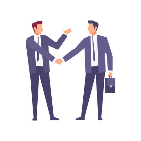 Businessmen in a flat style isolated on white background. Businessmen came to an agreement and completed the deal with a handshake. Template for banner or infographics. Vector illustration. Ilustração