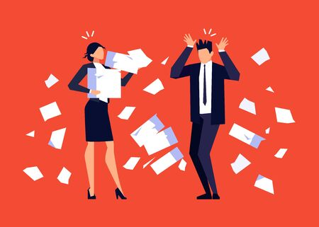 Businesswoman and businessman in a flat style isolated on red background. People is stressed from hard paperwork. Shocked office workers. Deadline. Vector illustration. Vettoriali