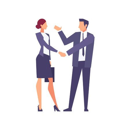Businessmen in a flat style isolated on white background. Businessmen came to an agreement and completed the deal with a handshake. Template for banner or infographics. Vector illustration. Illustration