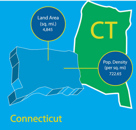 Connecticut 3D Vector map info graphic. Well organized file for easy manipulation.