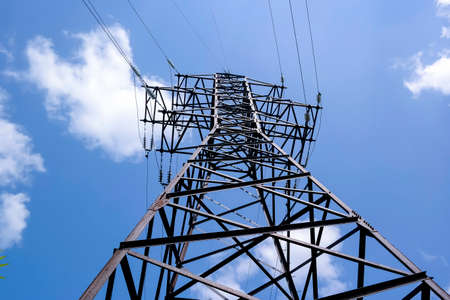 High-voltage power line tower. Transmission of electricity over distance