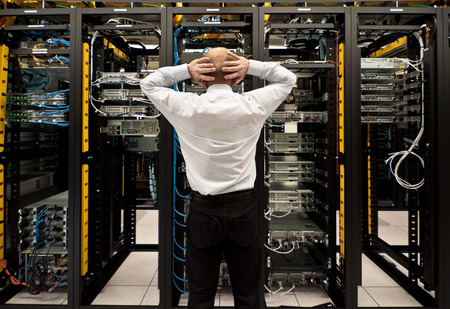 data center data centre: Trouble in data center Stock Photo