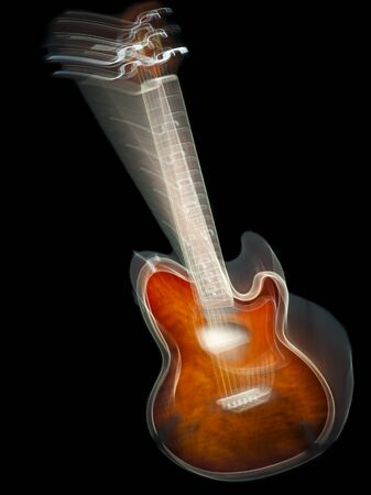 no movement: acoustic guitar, isolated, on black background, with motion blur effect