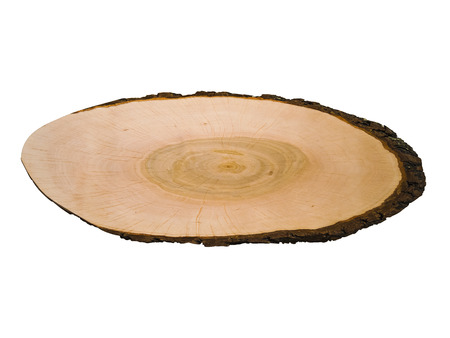 crosscut: Crosscut of a tree log with circled texture, isolated on whit background. Can be also used as a plaque and wooden sign. Stock Photo