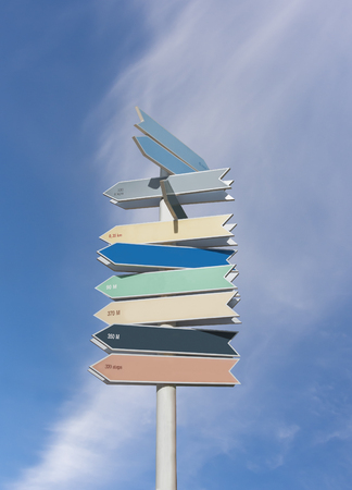 sign post: Wooden colorful sign post with many directions, against blue sky background