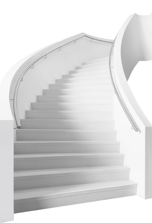 elegant staircase: White cirved elegant staircase, isolated, on white background.