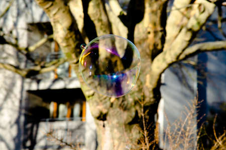 Giant flying soap bubble in city park Imagens - 120857410