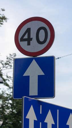 Road sign 40 km speed. One way sign. Reklamní fotografie