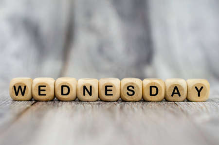 The word Wednesday on wooden cubes. Weekday concept