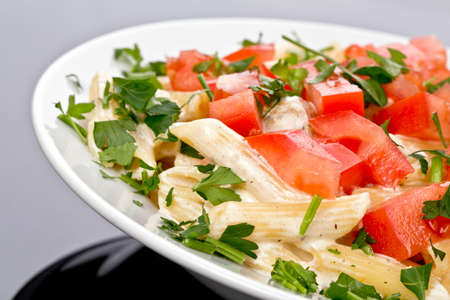 penne with chicken and tomato photo