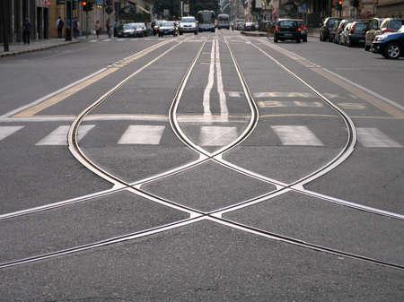 crossroad: tren cruce Foto de archivo
